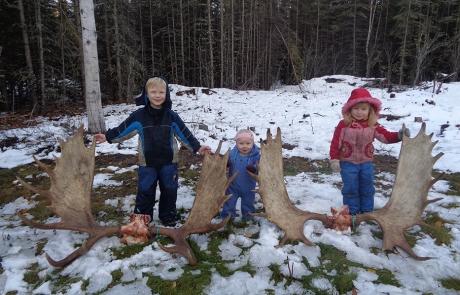 Alaska Kids with Moose Antlers